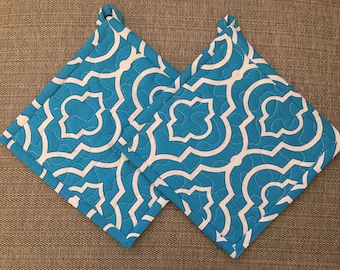 Quilted Pot holders , Potholders,pot holders, Fabric Pot holders, Contemporary Potholders ,8 x 8 inch, blue, Christmas gift