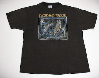 Vintage 90s 1992 Twist and Trout Fishing Humour Parody T-Shirt