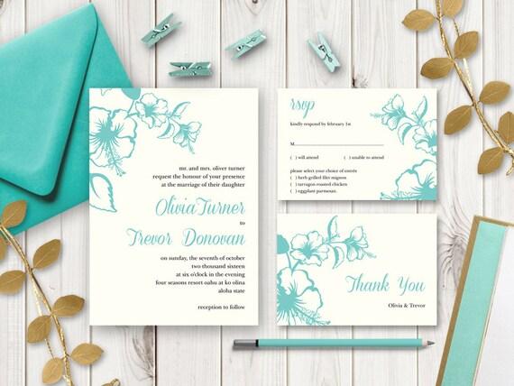 Printable Beach Wedding Invitations: Beach Wedding Invitation Set Hawaii Turquoise
