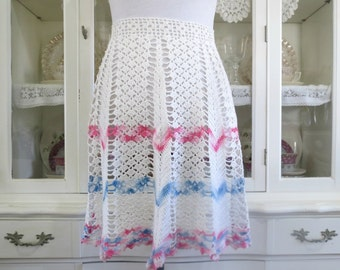 Women's Vintage Apron, Crocheted Half, Waist or Kitchen Apron, White Pink and Blue, Vintage Linens