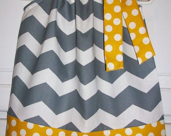 Pillowcase Dress, Chevron Dress, Gray and Mustard, Spring Dresses, Girls Dresses, Girls Clothing, Grey and Yellow, Kids Clothes, Mod Style