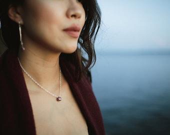 Chocolate Moonstone Teardrop Necklace-Silver