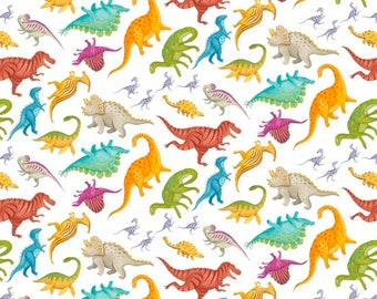 Blank Quilting - Dino Party - Tossed Dinosaur Mini - White - Fabric by the Yard 9055-01