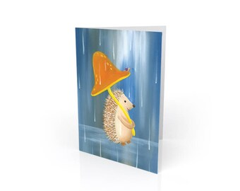 Hedgehog in the Rain Blank Art Greeting Card
