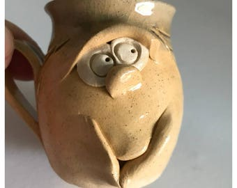 Vintage Miniature Ugly Pottery Ceramic Mug, Made in Wales