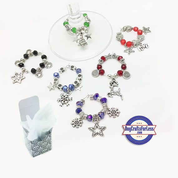 CHRISTMAS WiNE or Bottle CHARMs, Glass / Silver Beads, Set of 6, FREE Gift BoX!!  +FREE SHiPPiNG & Discounts*