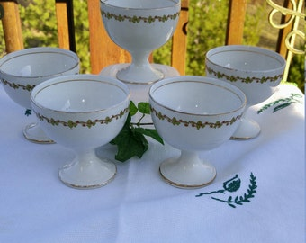 Rare Antique Knowles Taylor & Knowles Footed Dessert Dish, Sherbet Dish - Set of 5; Antique Dessert Dish, Sherbet Dish, Pudding Dish