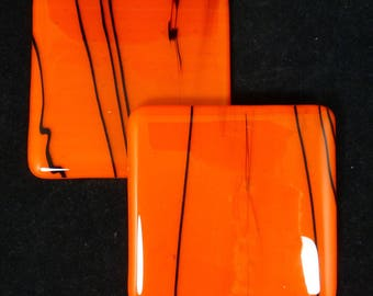 Fused Glass Coasters rich orange with black detail design - set of two