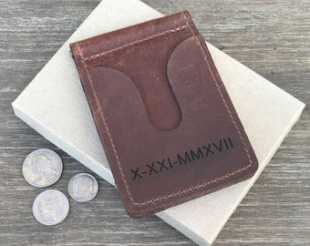 Personalized Leather Money Clip, Husband gift, Leather Money Clip wallet, Minimalist money clip, Boyfriend gift, Mens Leather wallet, Custom