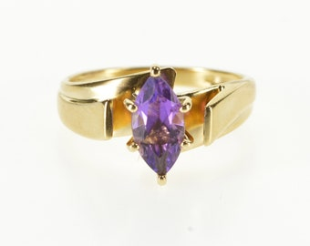 10K Marquise Amethyst Solitaire Illusion Freeform Ring Size 7.25 Yellow Gold