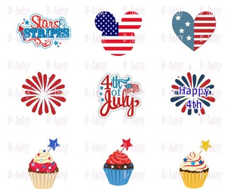 4th of July Bottle Cap Images, Instant Download 4x6 digital sheet