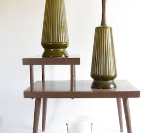 Vintage Mid Century Modern Pair Green Ceramic Table Lamps Atomic Ranch Deco MOD  Lamps MOD Lighting
