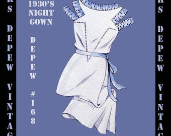 Vintage Sewing Pattern 1930s French Ladies' Night Gown in Any Size- PLUS Size Included- Depew 168 -INSTANT DOWNLOAD-