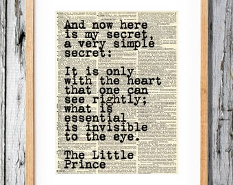 Le Petit Prince Quote - Art Print on Vintage Antique Dictionary Paper - Little Prince