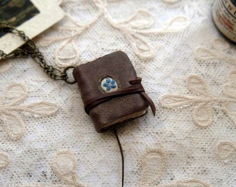 A Touch of Blue - Miniature Wearable Book, Hand Stitched, Recycled - OOAK