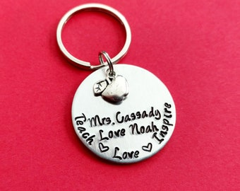 Teach Love Inspire hand stamped keychain with apple charm, Personalized name, teacher keychain teacher gift, teacher appreciation gift
