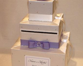 White and Lavender Winter theme Card Box-Rhinestone accents