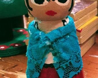 Artist Frida Kahlo peg doll