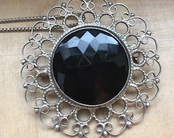 Black Onyx Filigree Pendant, Sterling and Onyx Pendant