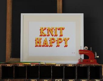 A3 Knit Happy print