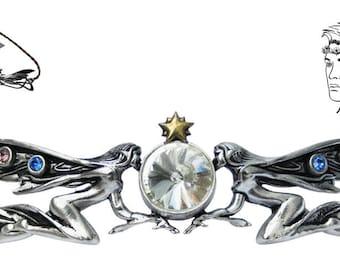 Titania's Star for Feasting, Fun & Frivolity Pewter Hengeband-Head band Jewelry, magickal body jewelry, headpiece, pentagram hair jewelry,