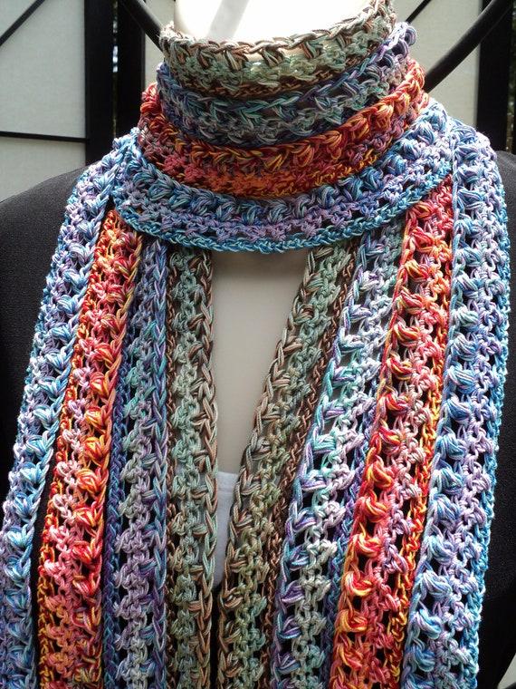 Crochet PATTERN Multicolored Crochet Skinny Scarf and