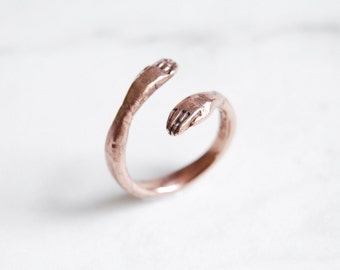 9kt rose, yellow, or white gold protective hand ring