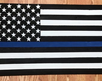 Wooden Thin Blue Line American Flag