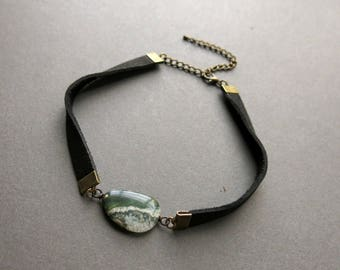 Leather Choker Necklace - Raw Crystal Choker - Boho Choker - Gemstone Choker - Bohemian Choker - Leather Crystal Necklace - Ocean Jasper