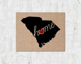 """South Carolina (SC) """"Love"""" or """"Home"""" Burlap or Canvas Paper State Silhouette Wall Art Print / Home Decor (Free Shipping)"""