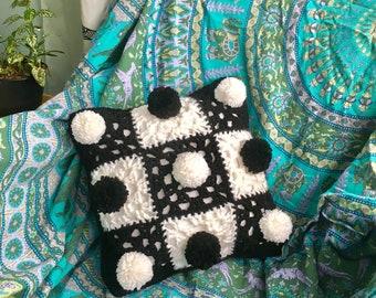 BLACK AND WHITE checker crochet boho decorative pillow!
