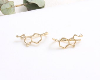 Serotonin Molecule Structure Ear Climbers, Chemical Compound Structure Ear Crawlers-1pair