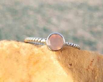 Natural Rose Quartz Sterling Silver Twisted Band Handmade Ring - 925 Sterling Silver