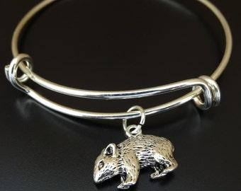 Hamster Bangle Bracelet, Adjustable Expandable Bangle Bracelet, Hamster Charm, Hamster Pendant, Hamster Jewelry, Mouse Bracelet, Mouse Charm