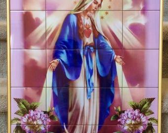 MOTHER MARY Framed Ceramic Tile Mural