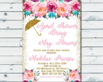 April Showers Bring May Flowers, Pink and Gold Baby Shower Invitation, Umbrella invitation, Confetti Girls Floral Baby Shower Invite 1105