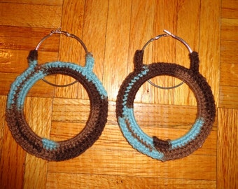 Mud Blues, Crochet Large Hoop Loop Earrings