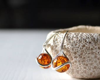 Amber Earrings, Amber Jewelry, Cognac amber Earrings, Amber drop earrings, dangle earrings, real amber jewellery, gifts for her