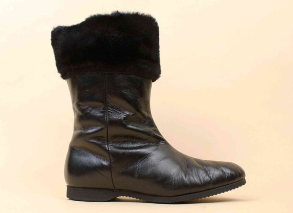 Pin Euro Leather Ankle Fur amp; Up 50s Almond Cuff Black Genuine 6 Weather Toe MOD Boot Wool Resistant 36 60s Tall Vtg Lined xqxnfw1a