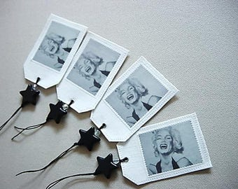 4 labels in linen, Marilyn monroe, original drawing in black and white