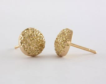 Domed Granite Stud Gold Earrings, gold , 18k, handcrafted