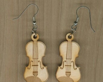 FREE SHIPPING - Violin Earrings - Laser Cut Wood (ER-027NN)