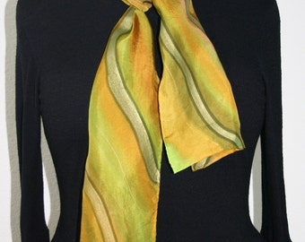 Hand Painted Silk Scarf. Olive, Terracotta, Lime Handmade silk Scarf OLIVE VALLEY. Size 8x54. Birthday Gift. Gift Wrapped.