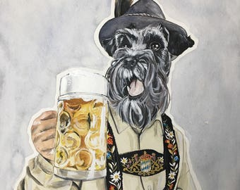 Print of Bavarian Schnauzer-Dog Portraits-Christmas Gift-Dog Painting