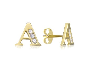 10K Solid Yellow Gold Cubic Zirconia Initial Letter Stud Earrings - A-Z Any Alphabet