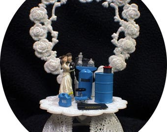 Car AUTO MECHANIC Wedding Cake Topper Bride Groom top Tools FUNNY Racing Blue painting gas can