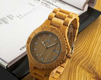 FREE Engraving, Wood Watch,Fathers Day Gift, Boyfriend Gift, Mens watch, Groomsmen gift, Husband Gift, hand made watch, gift for him, DR215