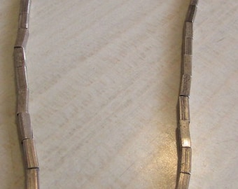 Sterling Silver Rectangular Bead Necklace