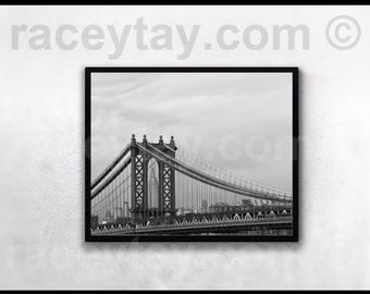 Black and White New York City Print, Manhattan Bridge, Empire State Building, Neutral, New York Photography
