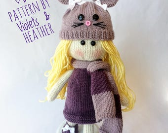KNITTING PATTERN for Kennedy Knit Doll, Instant PDF pattern download